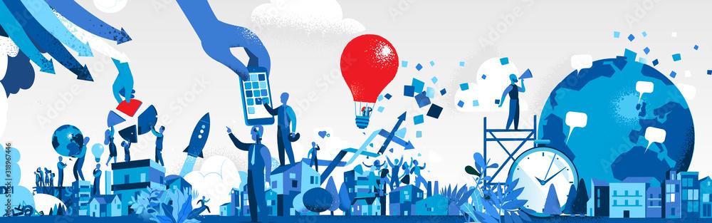 Fototapeta Società dell'Innovazione e della Comunicazione - Illustrazione vettoriale