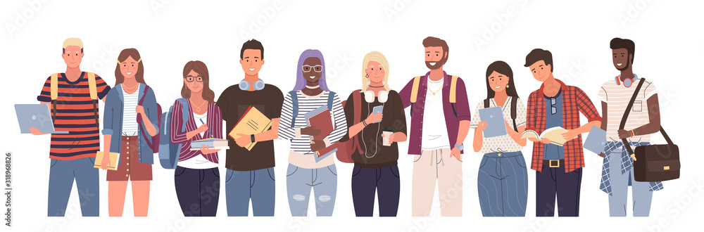 Fototapeta Multicultural students group, international people vector. Different nation young girls and boys holding books and laptop, isolated characters with backpacks. Happy teenagers in casual clothes, youth