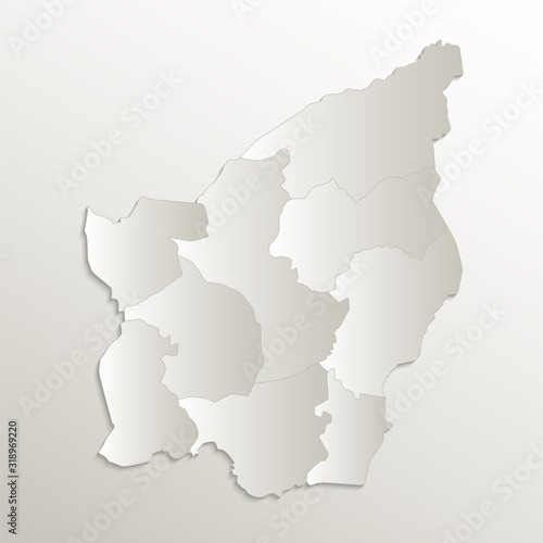 San Marino map separates regions and names individual region, card paper 3D natu Canvas Print