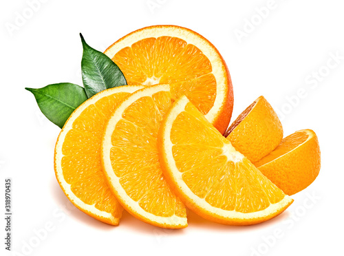 Fotografía Orange fruit, slices, leaves isolated on white