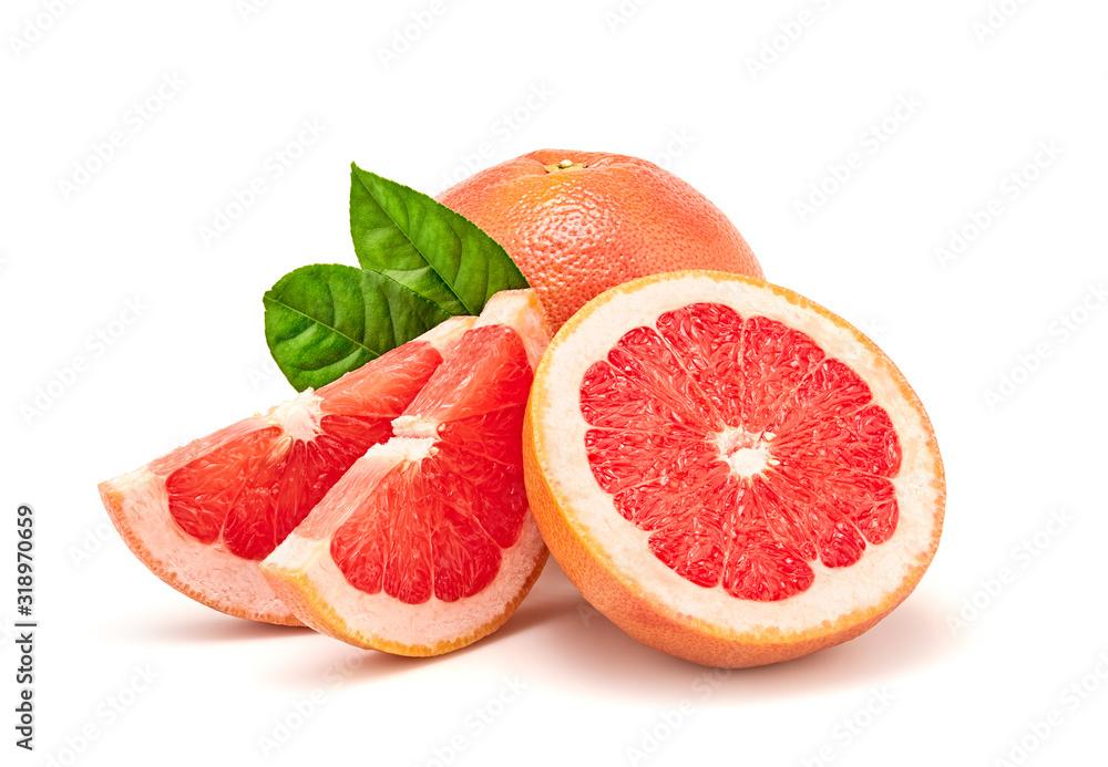 Fotografie, Obraz Grapefruit fruit, slices, leaves isolated on white