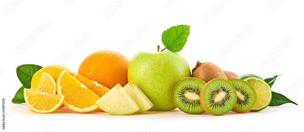 Fototapeta Fresh fruits healthy diet concept. Raw mixed vegan juicy food background, green apple, orange isolated on white. Variety of fresh citrus fruit, detox health clean eating