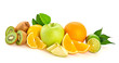 Fresh fruits healthy diet concept. Raw mixed vegan juicy food background, green apple, orange isolated on white. Variety of fresh citrus fruit for detox juice or smoothie.