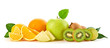Fresh fruits healthy diet concept. Raw mixed vegan juicy food background, green apple, orange isolated on white. Variety of fresh citrus fruit, detox health clean eating