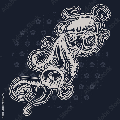 Octopus vintage Vector on blue pattern background  illustrtion oo6 Canvas Print