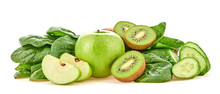 Fresh Fruits Vegetables Healthy Eating Diet Set. Raw Mixed Vegan Juicy Food Vitamin Background, Green Apple, Kiwi, Spinach, Cucumber Isolated On White. Detox Veg Green Concept