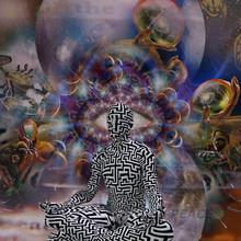 Balance. Figure Of Man In Lotus Pose. 3D Rendering