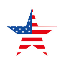 Star With American Flag On Whi...