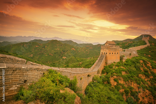 Great Wall Of China Against Cloudy Sky Fototapet