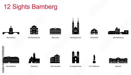 Leinwand Poster 12 Sights of Bamberg