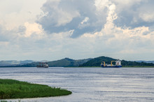 SCENIC VIEW OF River Congo With Container Ships AGAINST SKY, Democratic Republic Of Congo