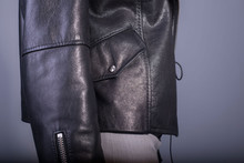 Close-up Jacket Made Of High Quality Leather, Pocket With Button.