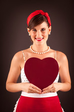 Retro Woman Holding Red Heart Chocolate Box, Valentine's Day