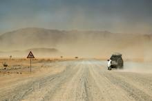 Safari Car Moving Fast In The ...
