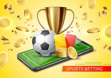 Vector 3d Golden Cup Football Card Betting Promo
