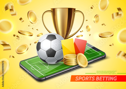 Foto Vector 3d golden cup football card betting promo