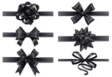 Realistic Black Ribbons With Bows. Dark Festive Wrapping Bow, Holiday Gift Ribbon Decoration 3d Realistic Illustration Vector Set. Collection Of Silk Tapes For Funeral. Bundle Of Tied Satin Strips.