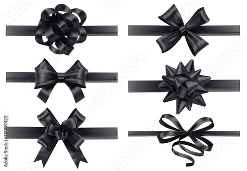Photo Realistic black ribbons with bows