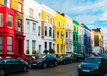 Colorful Houses In The District Of Notting Hill Near Portobello Road, London