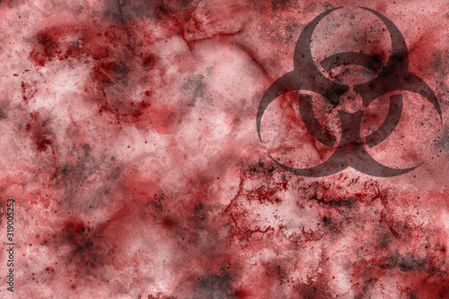 Fototapeta Biohazard symbol on bloody background