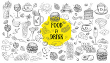 Vector Set With Food And Drink. Hand Drawn Food Elements.