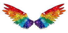 Beautiful Magic Rainbow Colorful Glittery Shining Wings, Hand Drawn Vector