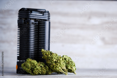 Vaporizer for ground marijuana flower - a healthier alternative to smoking joint Canvas Print