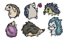 Set Of Funny Hedgehog Characte...