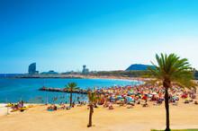 Barcelona Beach On Sunny Summe...