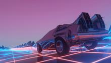 Retro Futuristic Car In 80s St...