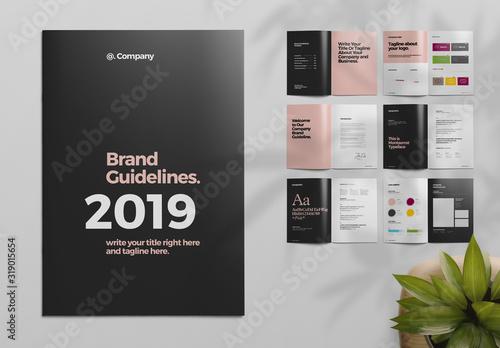 Fototapeta Black and Pink Brand Guideline Brochure Layout obraz
