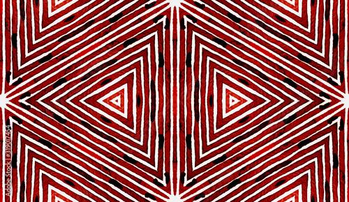 Wine red Geometric Watercolor. Amusing Seamless Pa Canvas Print