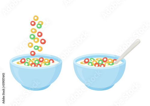 Cereal breakfast, healthy food, colorful crisp rings in milk Canvas Print