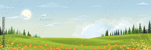 Fototapeta Spring landscape with mountain, blue sky and clouds,Panorama Green fields, fresh and peaceful rural nature in springtime with green grass land. Cartoon vector illustration for spring and summer banner obraz