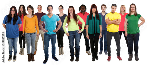 Obraz Multicultural group of young people smiling happy full body standing isolated - fototapety do salonu