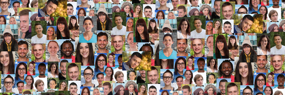Fototapeta Background portrait collection group of young people portraits panorama faces multicultural