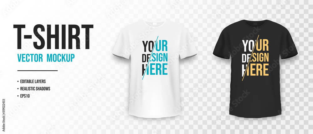 Fototapeta Black and white t-shirt mockup. Mockup of realistic shirt with short sleeves. Blank t-shirt template with empty space for design