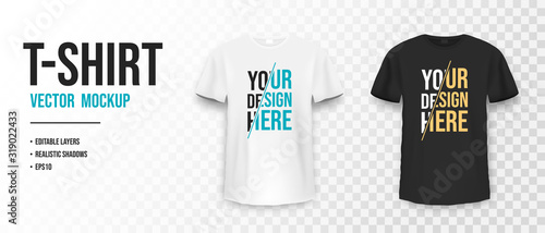 Black and white t-shirt mockup. Mockup of realistic shirt with short sleeves. Blank t-shirt template with empty space for design - 319022433