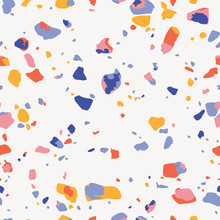 Terrazzo Seamless Pattern. Colorful Vector Texture Of Mosaic Floor Consisting Of Recycled Plastic, Glass Splinters, Stone Fragments, Chips Of Marble, Granite, Quartz And Concrete. Trendy Background