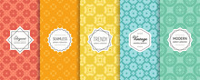 Vector Geometric Seamless Pattern Collection. Set Of Colorful Background Swatches With Elegant Minimal Labels. Cute Abstract Textures. Oriental Style Design. Red, Orange, Yellow, Blue, Turquoise Color