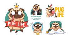 Funny Pug Sticker Set. Illustr...