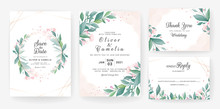Wedding Invitation Card Template Set With Leaves, Small Flowers, Watercolor Background, And Gold Line. Floral Border For Save The Date, Greeting, Thank You, RSVP, Etc. Botanic Illustration Vector