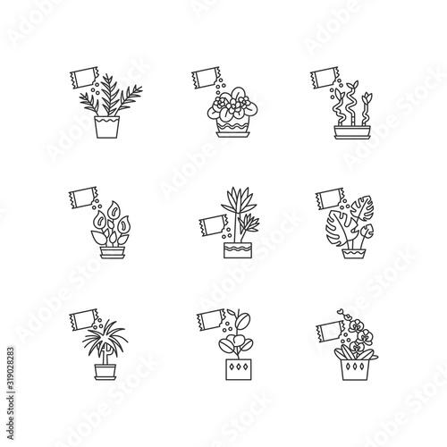 Fototapeta Houseplant fertilizing pixel perfect linear icons set