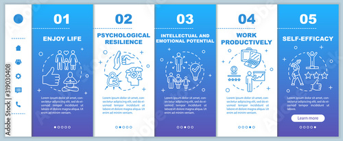 Mental health onboarding vector template. Psychological wellness. Enjoy life. Work productively. Self efficacy. Responsive mobile website, icons. Webpage walkthrough step screens. RGB color concept