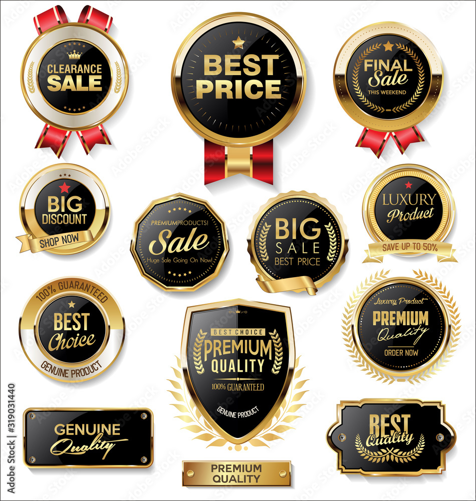 Fototapeta Retro vintage gold and black badges and labels