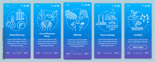Obraz Overconsumption onboarding mobile app page screen with concepts. Global warming, soil wear. Consumerism walkthrough 5 steps graphic instructions. UI vector template with RGB color illustrations - fototapety do salonu