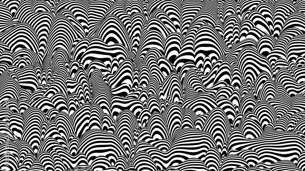 Fototapeta Trendy 3D black and white stripes distorted backdrop. Abstract noise landscape. Procedural ripple background with optical illusion effect.