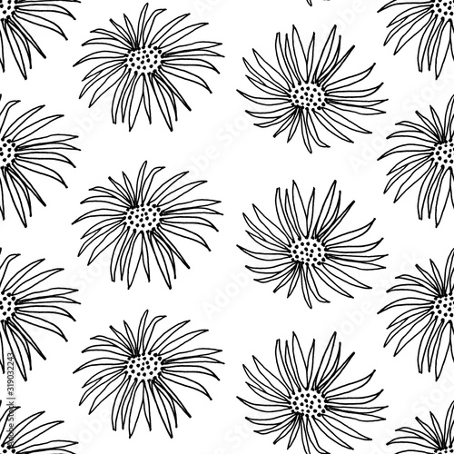 Aster flowers pattern. The illustration is drawn in black liner. Idea for packaging, gift decoration, children's art, coloring book, wallpaper.