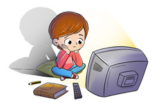 Boy Watching Television Distracted And Not Reading A Book
