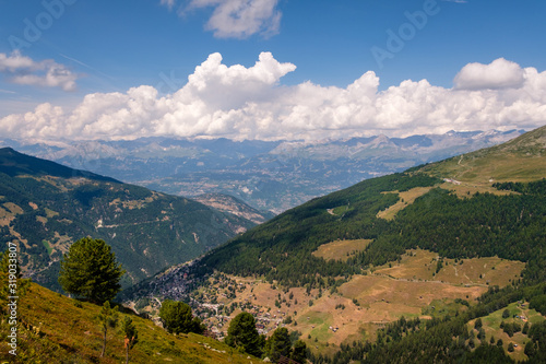 Fototapeta View on the Rhone valley near Sierre from above the alpine village Saint-Luc in